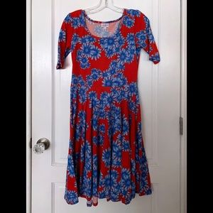 LuLaRoe - Red and Blue Floral Nicole Dress